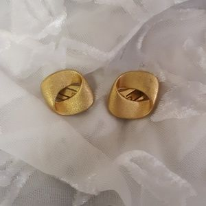 Vintage Rustic Gold Tone Clip-On Earrings